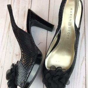 Karen Scott   Black Peep Toe Heels   7.5